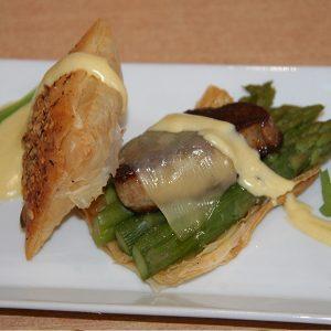 Feuilleté de foie gras aux asperges